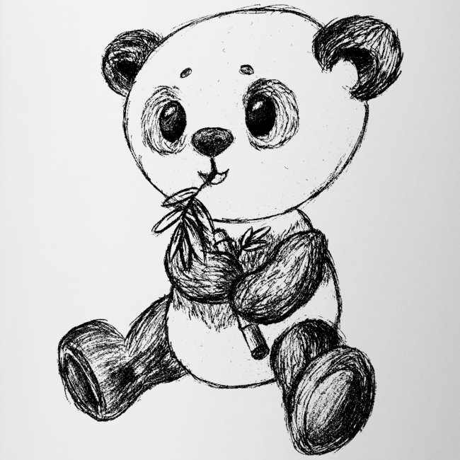Panda Bär scribblesirii schwarz