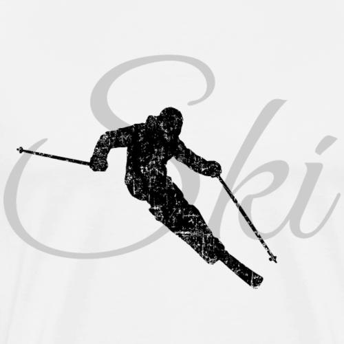 Ski Skifahren (Distressed Schwarz&Grau)