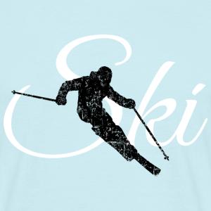 Ski Skifahren (Distressed Schwarz&Weiß)