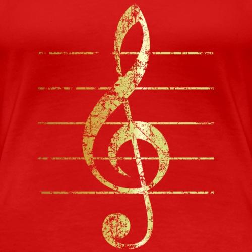 Violinschlüssel mit Notenlinien (Gold patiniert)