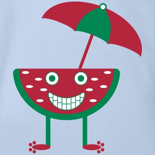 Melone mit Sonnenschirm