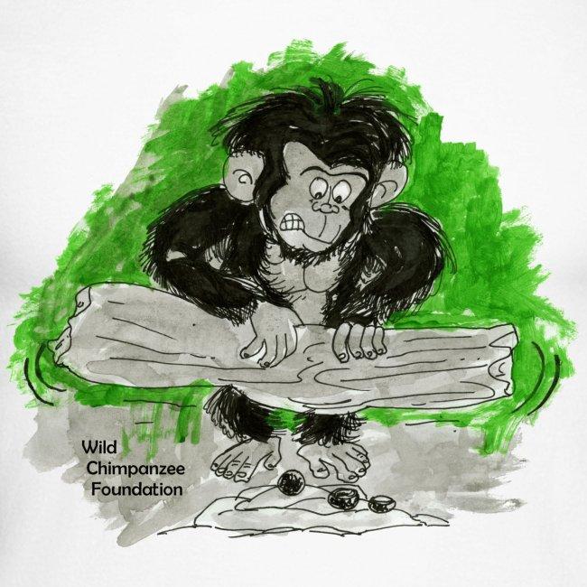 Chimpanzee nut cracking Men's Raglan Long Sleeve