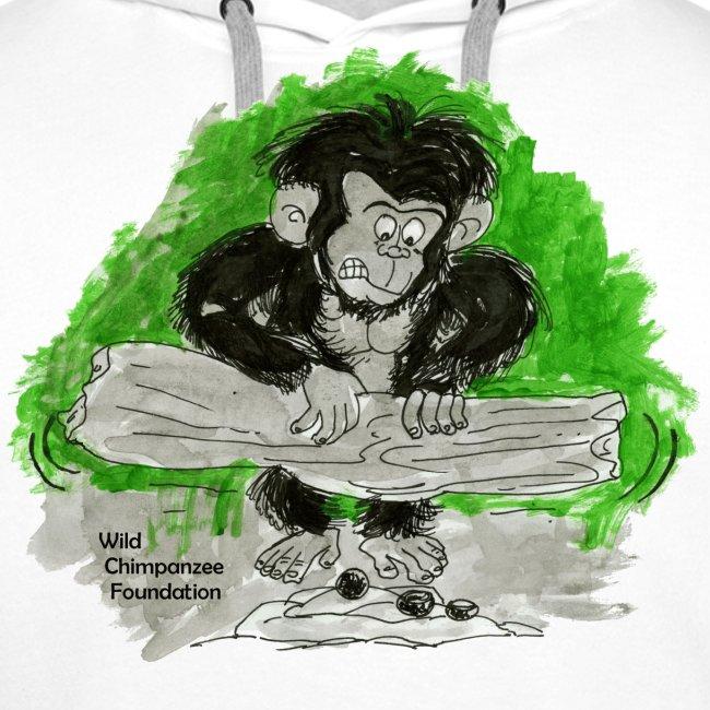 Chimpanzee nut cracking Men's Hooded Sweatshirt