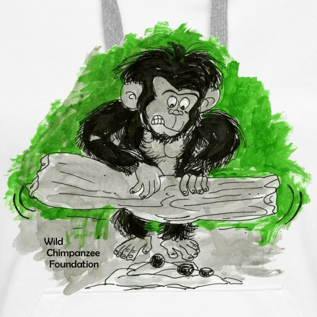 Chimpanzee nut cracking Women's Hooded Sweatshirt
