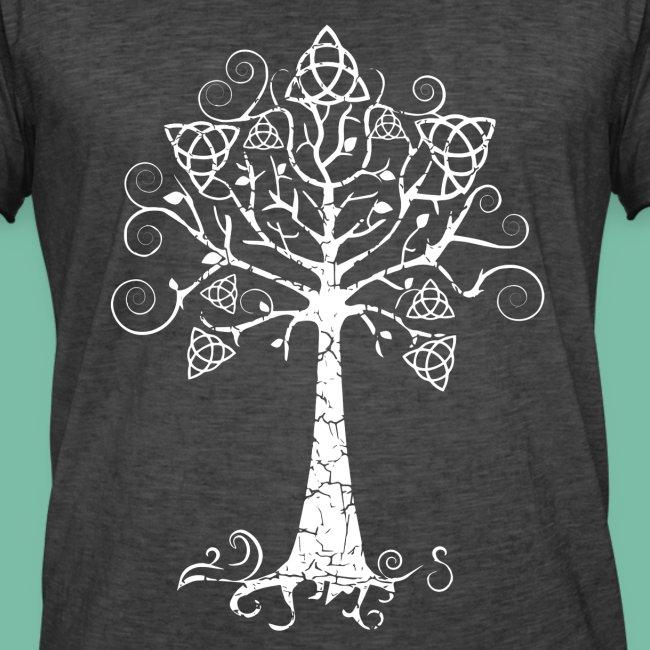 T-shirt homme gris chiné arbre phare blanc