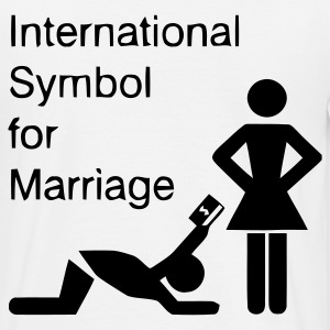 Weiß International Symbol for Marriage - Hochzeit - Heirat - Wedding - funny - lustig - fun - joke - Spru T-Shirts - Männer T-Shirt