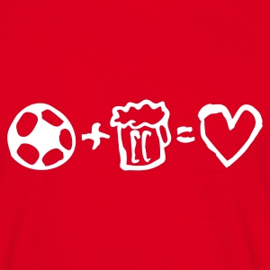 football+beer=love - Mannen T-shirt