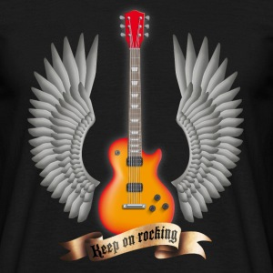 Schwarz guitars_and_wings_red T-Shirts - Männer T-Shirt
