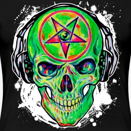 Cool DJ Music Skull green 01 Zombi