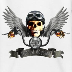 Weiß biker_skull_c Kinder T-Shirts - Teenager T-Shirt