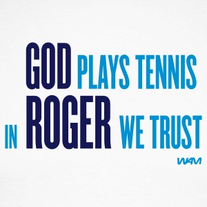 Hvit/marine god plays tennis in Roger we trust by wam Skjorter med lange armer - Langermet baseball-skjorte for menn