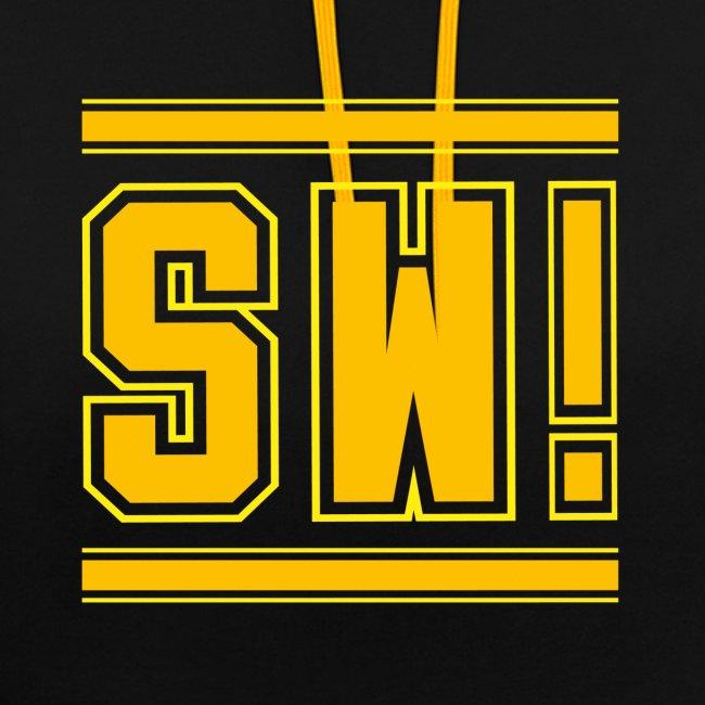 """SUPER WANG!, Kontrast Hoodie, schwarz-gelb, mit Logo """"SW!"""", gelb-orange, unisex"""
