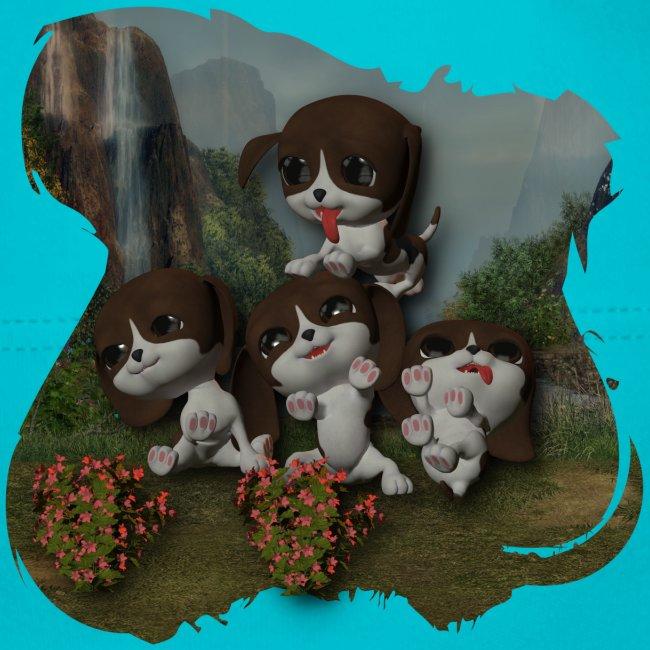 Vier spelende puppies