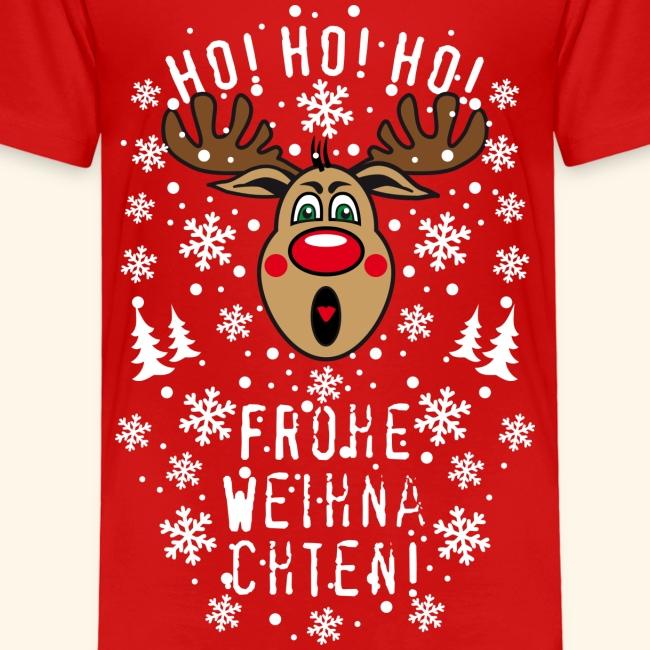 Ho Ho Ho Frohe Weihnachten.74 Hirsch Rudolph Ho Ho Ho Frohe Weihnachten T Shirt Kinder Premium T Shirt