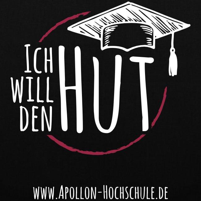 """""""Ich will den Hut"""", Umhängetasche, schwarz"""