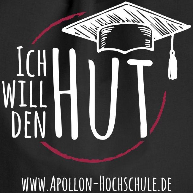 """""""Ich will den Hut"""", Turnbeutel, schwarz"""