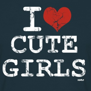 Marine i love cute girls vintage white by wam T-shirts - T-shirt Homme