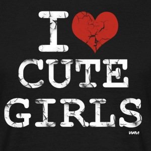 Noir i love cute girls vintage white by wam T-shirts - T-shirt Homme