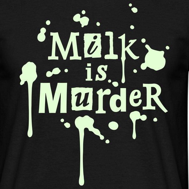 Mens 'Milk is Murder + vegan', beidseitig GLOW