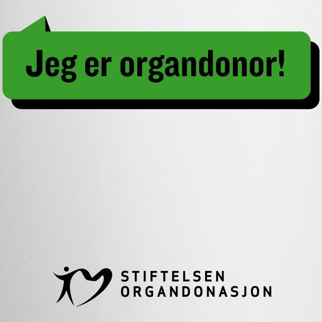 """Jeg er organdonor"" krus"