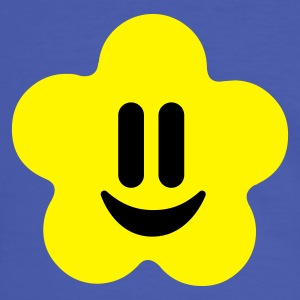 Blå/hvid flower power smiley T-shirts - Herre kontrast-T-shirt