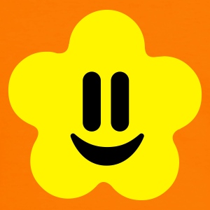 Oranje/zwart flower power smiley T-shirts - Mannen contrastshirt
