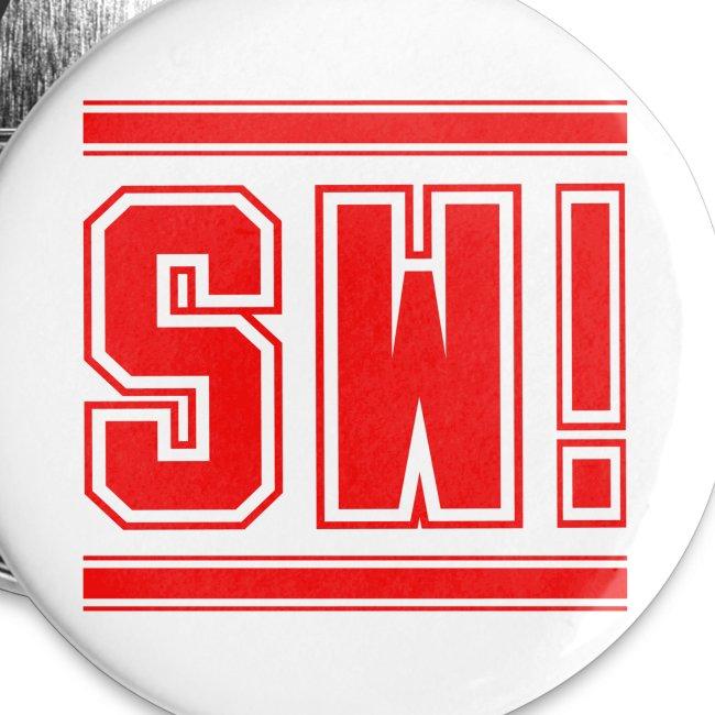 "SUPER WANG! Button klein, Logo ""SW"" rot"
