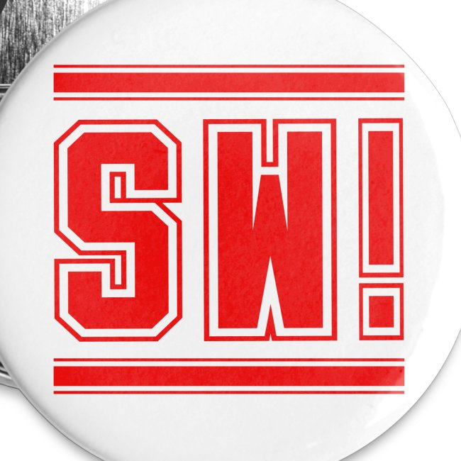 "SUPER WANG! Button groß, Logo ""SW"" rot"