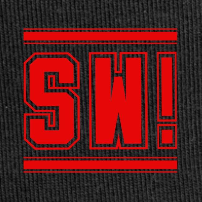 "SUPER WANG! Beanie mit Logo ""SW!"" klein, rot"