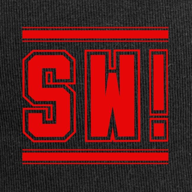 "SUPER WANG! Beanie, Logo ""SW!"" groß, rot"