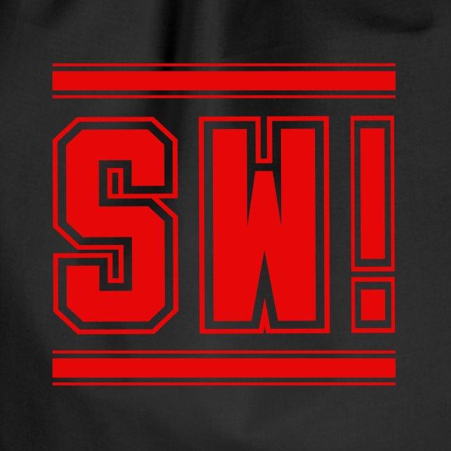 """SUPER WANG! Beutel in schwarz, Logo """"SW!"""", rot"""