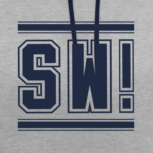 "SUPER WANG!, Kontrast Hoodie, grau-blau, mit Logo ""SW!"", blau, unisex"