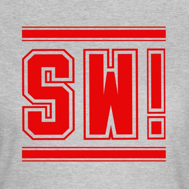 """SUPER WANG! T-Shirt für Frauen, rotes Logo """"SW!"""""""