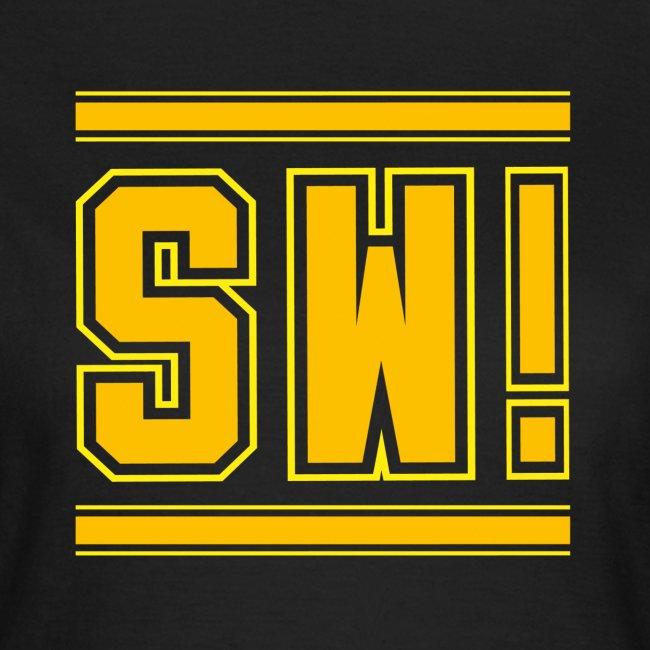 """SUPER WANG!, schwarzes T-Shirt für Frauen, gelb-orangenes Logo """"SW!"""""""