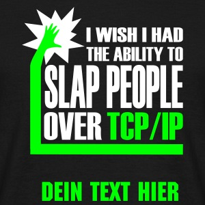 Schwarz slap_over_tcp_ip T-Shirts - Männer T-Shirt