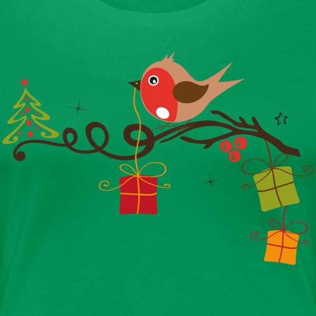 Weihnachtsbaum Ast.Rotkehlchen Auf Einem Ast Mit Weihnachtsbaum Frauen Premium T Shirt