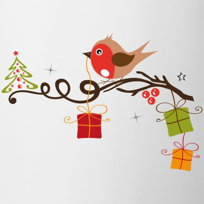 Weihnachtsbaum Ast.Rotkehlchen Auf Einem Ast Mit Weihnachtsbaum Tasse