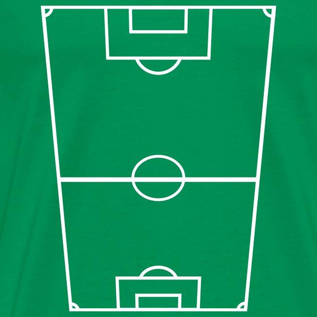T-shirt premium herr med fotbollsplan fram och text bak.