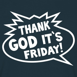 THANK GOD ITS FRIDAY T-Shirt navy, Motiv weiß - Männer T-Shirt