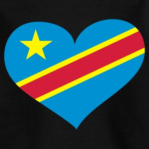 Schwarz Democratic Republic of the Congo heart - eushirt.com Kinder T-Shirts - Teenager T-Shirt