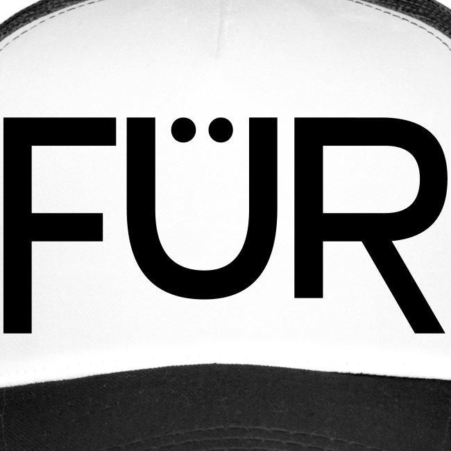 FÜR Magazine Trucker Cap Black On White