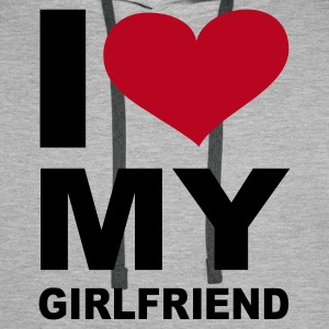 Grau meliert I love my girlfriend - eushirt.com Pullover - Men's Premium Hoodie