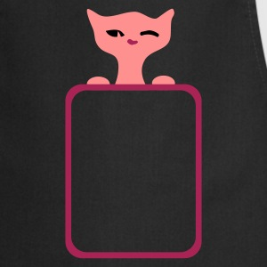 Black retro black cat wink :) by Patjila  Aprons - Cooking Apron