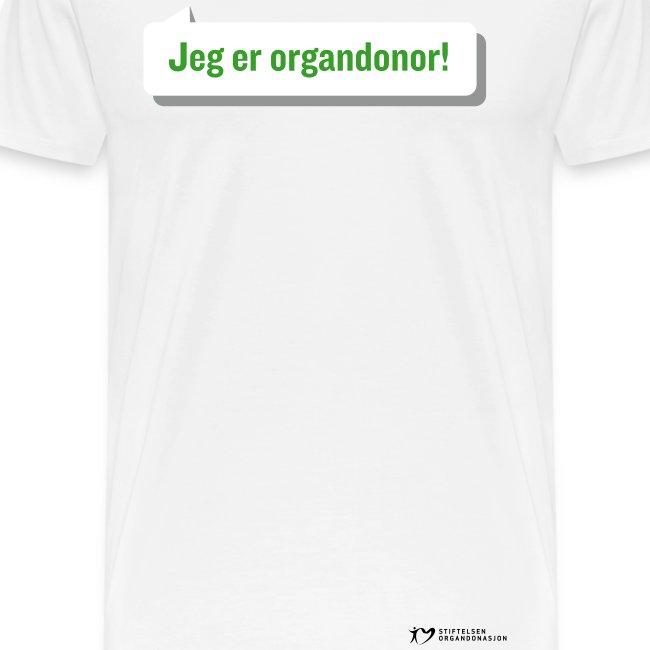 """""""Jeg er organdonor"""" t-skjorte – herre"""