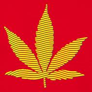 Motiv ~ Streifen-Hanfblatt (grün, gelb) Schweres Shirt