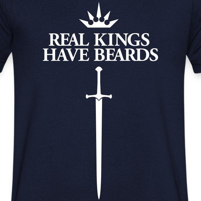 Real Kings Have Beards  - Men's V-neck (white print)