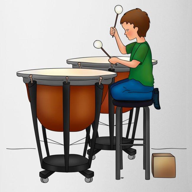 Child playing Timpani