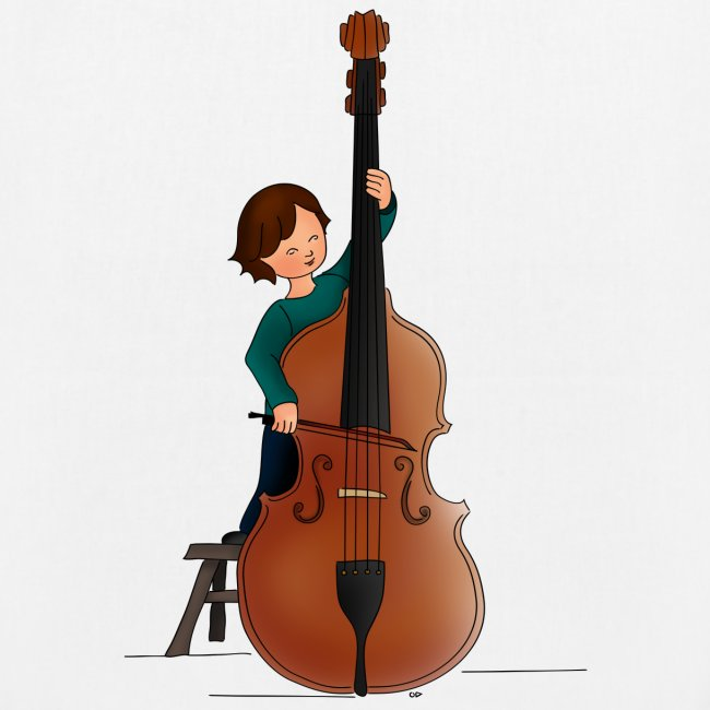 Child playing Double bass