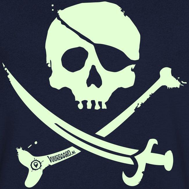Pirate Crew - Men's V-neck (White print, glows green in the dark)