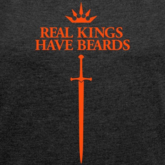 Real kings have beards - Women's Boyfriend Shirt (Orange print)